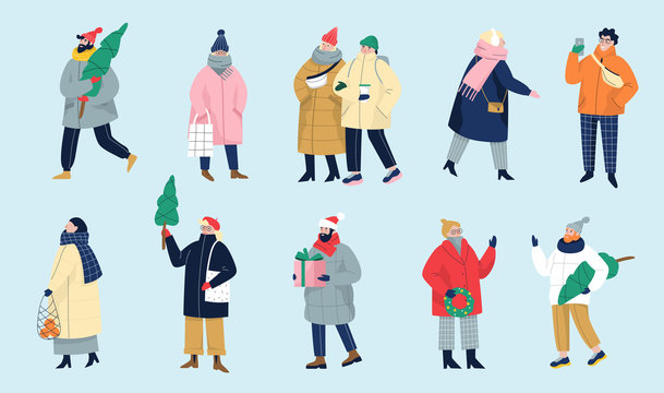 Set of isolated vector illustration of people wearing warm winter clothes.