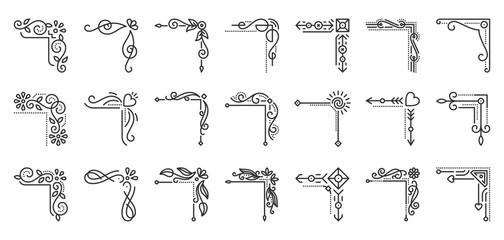 Corner Border fancy arabesque line icon vector set