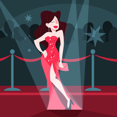 Vector illustration of beautiful celebrity on the red carpet,