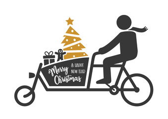 Merry Christmas. Greeting Card. Christmas shopping with a cargo bike