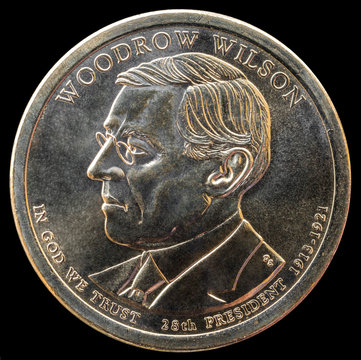 1 dollar coin. 28th President of the United States of America