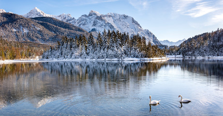 panoramic scene in Bavarian mountains at winter Wall mural