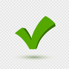 Check mark icon. Symbol Yes or OK button for correct, vote. Checkbox sign isolated on transparent background. Vector green checkmark element.