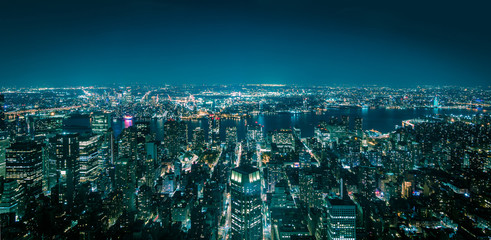 Aerial view of New York Manhattan at night