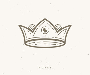 Crown simple vector linear design for logo or icon.