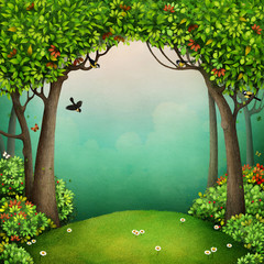 Fantasy fairy tale Background for the fairy tale Mr. Cat and the Fox