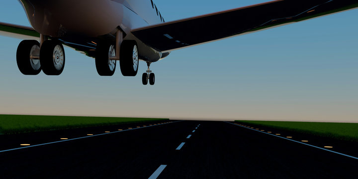 Luxury business jet during landing or takeoff on runway. Extremely detailed and realistic high resolution 3d illustration