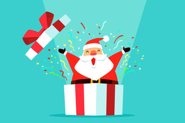 santa claus come out of gift box with confetti