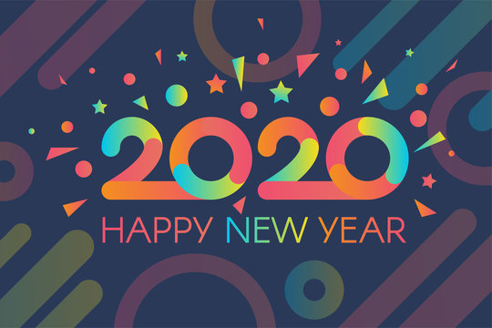 Colorful 2020 Happy New Year with Confetti Banner
