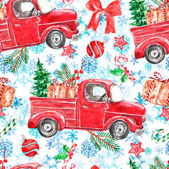 Cheerful Christmas seamless pattern with watercolor red pic up truck, holiday gifts, green fir tree, pine branches, ornaments, candy cane and holly, on snowflakes background.