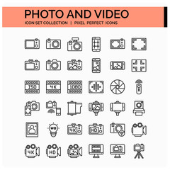 Photo And Video Icons Set. UI Pixel Perfect Well-crafted Vector Thin Line Icons. The illustrations are a vector.