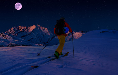 Wall Mural - Scenic night backcountry ski panorama sunset landscape of Crans-Montana range in Swiss Alps mountains with peak in background, Verbier, Switzerland.