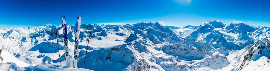 Winter panorama landscape from Mont Fort and famous Matterhorn, Dent d'Herens, Dents de Bouquetins,...