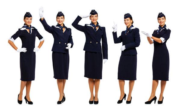Young beautiful Russian stewardess in blue uniform