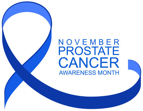 Blue ribbon symbol and text prostate cancer awareness month. November is mens health awareness month