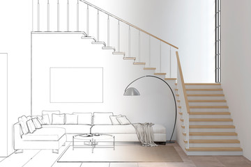 Sketch of modern living room with sofa and stairs became a real interior. 3d illustration