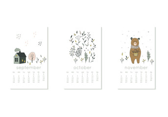 Cute design for calendar 2020, autumn months with floral and flower. Week starts on Sunday. Vertical editable calender page template can be used for web, banner, poster and printable graphic