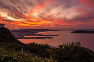 屋島の頂上から見る香川県高松市の夕暮れ, The Landscape of Kagawa Prefecture in Japan in Evening