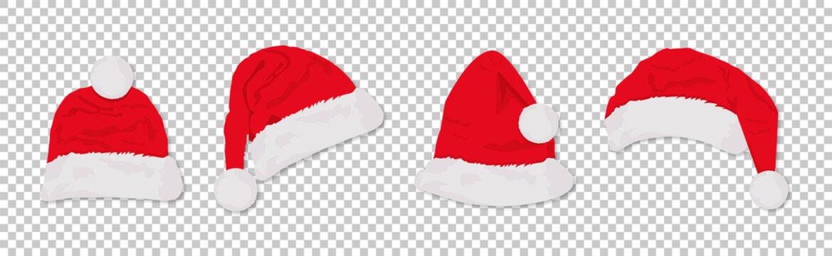 Santa hats red colored set. Winter cap. Vector