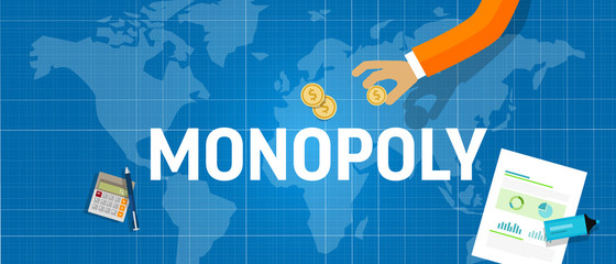 Monopoly concept of a company dominate market share of a product. Market leader generate sales or revenue in business competition.