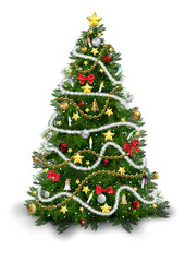Christmas Tree with Colorful Ornaments Isolated on White Background - Detailed Colored Illustration for Your Merry Christmas Greeting, Vector