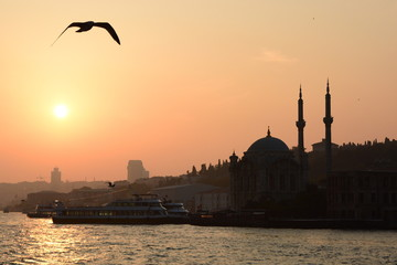 Ortakoy mosque silhouette at sunset. Istanbul. Turkey