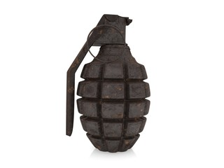 Old rusty hand grenade on a white background