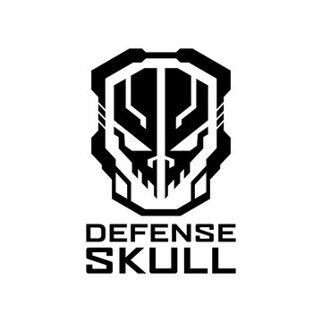 Tactical Defense shield skull logo design template for military, armory, tactical, gear, shop, weapon, army, and other.