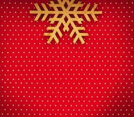 Happy New Year and Christmas Eve background.Hand made wooden snow flake on red paper backdrop for winter holidays celebration poster.Empty space for text with vignette.