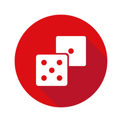 Dice icon isolated on red circle background. Poker casino vector illustration. Casino vegas game. Isolated vector sign symbol. Flat simple vector icon. Symbol collection.