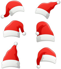 Set of christmas Santa Claus Hats isolated on white background. Vector illustration