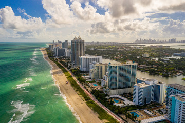 Nice day in Miami Beach aerial drone photo