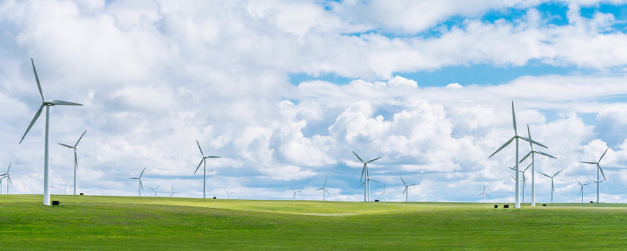 Wind farms on the grassland of Huitengxile, Inner Mongolia, China