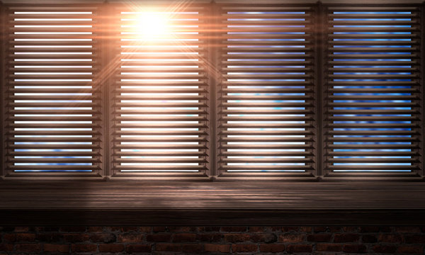 Large wooden window. Wooden table, sunshine. wooden blinds. Old brick wall. Room with a large window. 3D illustration.