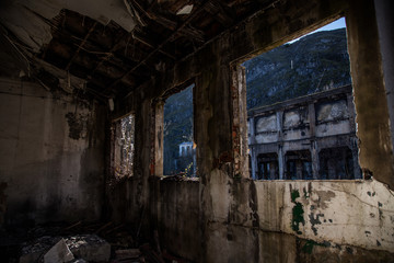 Keuken foto achterwand Theater ventana en fábrica abandonada