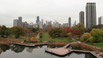 Fototapete - Chicago downtown skyline aerial drone Lincoln Park fall foliage