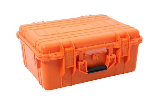 Clamshell Hard Case. Isolated with handmade clipping path.