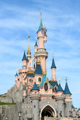 Sleeping beauty castle in Disneyland Paris, France.