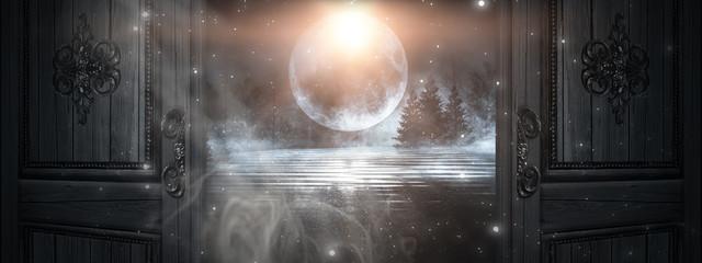Fotomurales - Open doors. Abstract bokeh light. Night view, magical atmosphere.