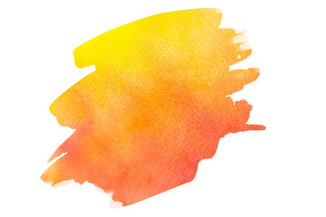 Abstract orange yellow red watercolor textured background on a white isolated background