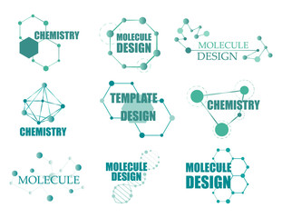 Set of logo with structure molecule