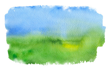 Abstract blue and green like sky and grass watercolor textured background on a white isolated background