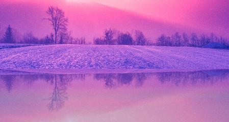 Türaufkleber Rosa Lovey spiegelung spiegel wald bäume winter schnee himmel rot