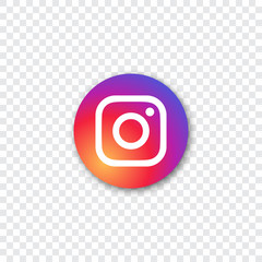 Instagram logo with shadow on a transparent background