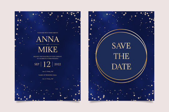 Wedding Invitation universe set in navy blue with gold frame and stars, thank you, save the date card design, night sky with stars, space elegant rustic baskground, vector.