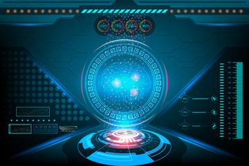 Futuristic Interface brain scan in HUD technology. illustration vector design