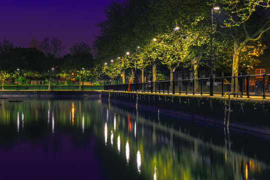 Night view of Surrey water, Rotherhithe in London