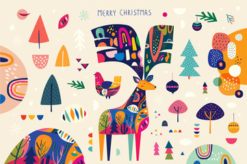 Fotomurales - Christmas banner with amazing colorful deer and bird and others