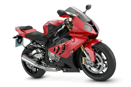Sport motorcycle. Red sport motorcycle isolated on white background.