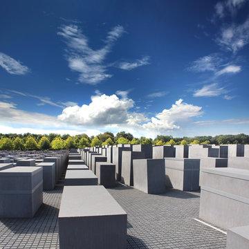 Berlin, Germany: The Memorial to the Murdered Jews of Europe or Holocaust Memorial near Brandenburg Gate